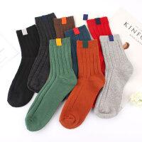 韩国日系学院风标签潮袜纯色基础款棉质中筒女袜子运动袜堆堆袜