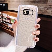 三星S8手机壳S9+Plus透明s7e钻石纹全包note9简约Galaxy直屏曲屏曲面屏G9550防 S7白边菱格透明