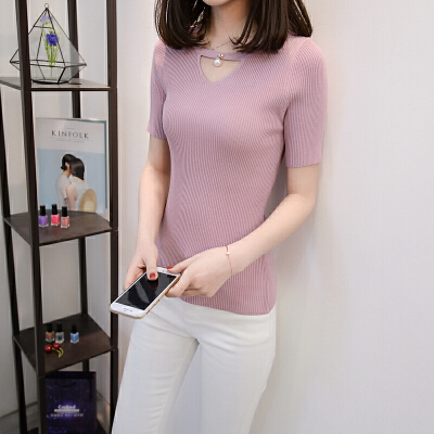 韩范短袖针织T恤女性感短款修身显瘦v领冰丝百搭夏季港味挂脖上衣