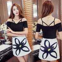 2018夏季韩版性感针织短款吊带露肩上衣包臀半身裙时尚两件套装女 黑上衣+半身裙