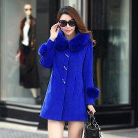 新款毛呢外套女中长款30-35-40岁妈妈秋冬装羊绒大衣韩版修身 3X