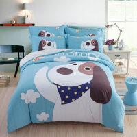 3D 卡通加厚磨毛三四件套纯棉床单被套男女孩儿童床上用品套件 2.0m( 6.6英尺) 床