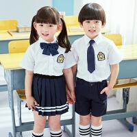 幼儿园园服夏装短袖套装儿童校服定制中小学生班服英伦学院风表演