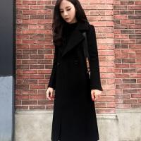 呢子大衣外套上衣女装2018秋冬新款黑色毛呢外套韩版女装赫本风中长款修身呢子大衣女 黑色