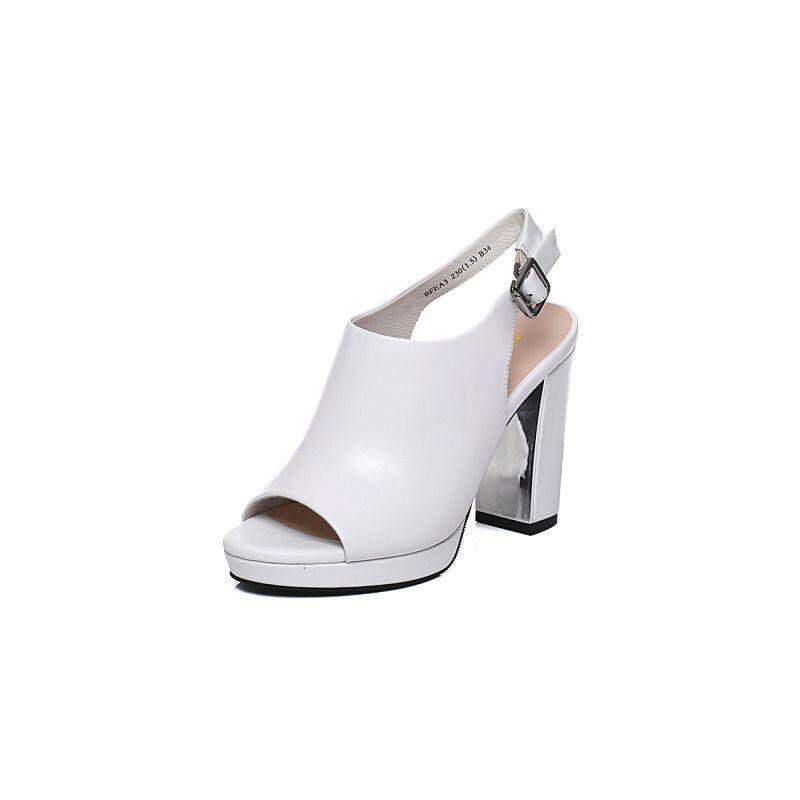 Belle/百丽夏季专柜同款牛皮黑色后空露趾高跟凉鞋BFEA3BL7