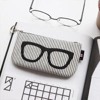 韩国旅行户外用品便携眼镜袋太阳镜袋眼镜收纳包袋墨镜袋旅游装备s6 白色