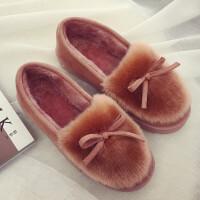 新款秋冬季棉拖鞋女包跟厚底毛绒保暖居家室内外月子鞋毛拖豆豆鞋