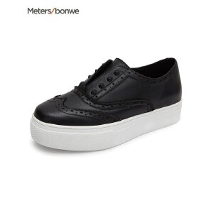 【1件3折到手价:37.5】美特斯邦威女鞋新款净色真皮雕花女板鞋202585商场同款