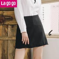 【618大促-每满100减50】Lagogo2017年秋冬季新款黑色简约流苏高腰显瘦半身裙女短裙百搭
