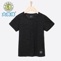 大黄蜂童装 男童短袖T恤 2018夏季新款 中大童黑色韩版个性纯色T