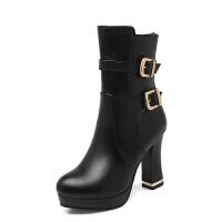 女士马丁靴女靴高跟女短靴粗跟短筒靴中靴2018新款秋冬季女鞋冬靴真皮
