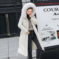 羽绒女冬装新款棉衣中长款加厚大毛领连帽韩版棉袄外套潮 米白色