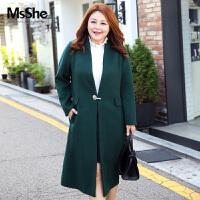 MsShe加大码女装2017新款胖mm冬装双面呢大衣97%羊毛外套M1740036