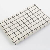 棉麻布料格子日韩风格加厚亚麻桌布窗帘抱枕沙发面料布艺 半米价(宽度1.5米)