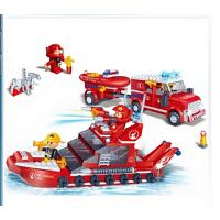 欢乐童年-邦宝 消防类拼装积木 儿童益智拼插塑料积木玩具 水上救援队