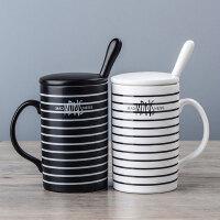 马克杯带盖勺创意牛奶咖啡杯海军杯水杯子 景德镇 黑白条纹卡通杯经典情侣陶瓷杯简约