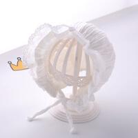 婴儿帽子春秋0-3-6个月2女宝宝公主新生儿护耳秋冬女童宫廷帽 均码