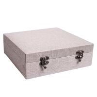 大号布艺复古包装盒瓷盘摆件收藏古玩锦盒普洱茶饼精品礼品盒定制