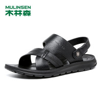 木林森男鞋 2018夏季两用头层牛皮休闲沙滩鞋 05287709