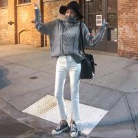 №【2019新款】冬天美女穿的韩国加绒黑色九分牛仔裤女 ulzzang高腰显瘦弹力微喇裤子加厚
