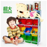 儿童木制收纳架 置物架玩具盒整理柜 蓝色粉色草莓款