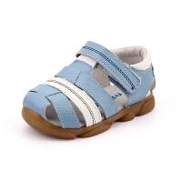 男童凉鞋夏季真皮小宝宝鞋子包头