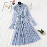 很仙的针织连衣裙女秋冬打底法国小众毛衣马甲套装过膝网纱长裙子