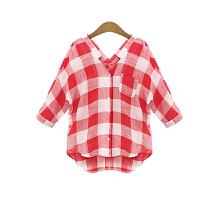 特大码女装2018夏装胖妹妹200斤加肥加大胖mm格子短袖衬衫衬衣女 红色格子
