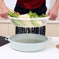 家用吃火锅拼盘沥水篮双层洗菜盆圆形塑料厨房洗菜篮蔬菜洗菜篮子