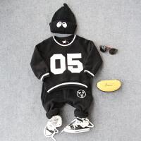 儿童加绒卫衣秋冬新品男童05印花套头韩版上衣宝宝加厚打底衫