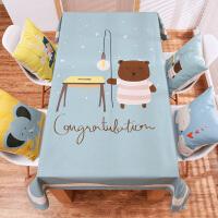 卡通儿童餐桌布棉麻布艺台布长方形茶几布幼儿园书桌圆桌盖巾布