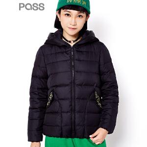 【不退不换】PASS潮牌秋装 修身连帽短款外套羽绒服女6640942026