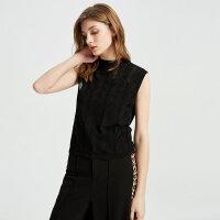 【1件4折到手价:99.6】MECITY女装夏季新款修身半高领无袖镂空毛衫