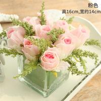 摆件客厅餐桌玻璃花艺摆设软装饰品 仿真花假花绢花玫瑰套装