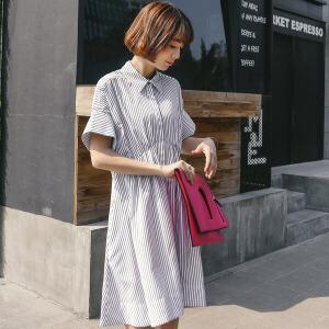 条纹雪纺连衣裙女夏2018新款温柔裙超仙收腰衬衫裙子中长款潮