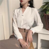 V领长袖衬衣女夏季新款韩版宽松显瘦休闲衬衫复古chic上衣潮