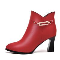 高跟鞋女尖头真皮冬秋冬款短靴百搭女士皮鞋中跟粗跟单鞋