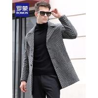 「狂欢!一件2.5折到手价:384」Romon/罗蒙呢子大衣男中长款青年时尚韩版羊毛大衣细格子毛呢外套