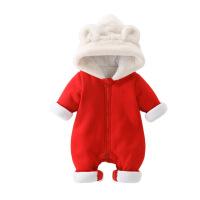【狂欢不打烊,钜惠再续:满100立减50】婴儿冬季连体哈衣宝宝0-3岁加厚兔毛大卫衣新生儿冬季爬爬服