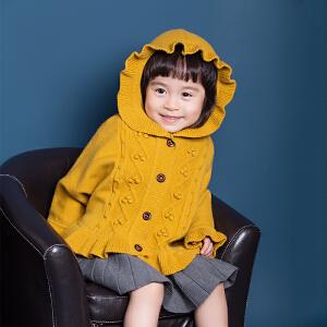 秋冬女童荷叶边连帽麻花斗篷女宝宝抗起球针织开衫毛衣外套