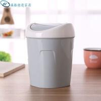 桌面垃圾桶简约迷你触摸式家用厨房塑料桶书桌杂物收纳桶