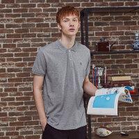 【2件2.5折到手价:54.75】美特斯邦威短袖T恤男2019夏季时尚简约时尚撞色字母领Polo衫S