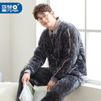 法兰绒夹棉睡衣男珊瑚绒冬季保暖加厚加绒冬款利发国际lifa88服棉袄男士套装