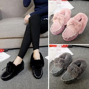 女式 新品冬季新款平跟糖果色毛毛雪地棉鞋靴