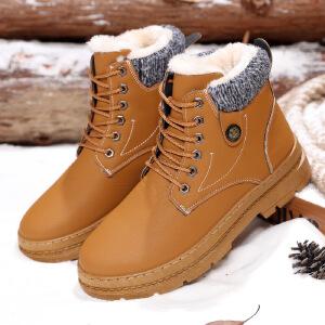 2017冬季加绒加棉雪地靴马丁男士保暖靴子休闲韩版长靴加厚棉鞋潮系带短靴男71512JQ