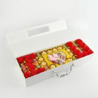 汉馨堂 巧克力礼盒 香皂花白色礼盒永生花巧克力送女友生日情人节礼物