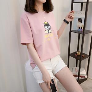 短袖T恤女圆领套头韩版宽松显瘦百搭针织衫打底衫女夏装2018新款