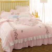 韩式公主风加厚宝宝绒床裙四件套少女粉色秋冬卡通保暖床上用品 N樱桃公主粉床裙四件套
