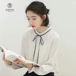 欧若珂  2018秋季新款小清新学生款立领长袖雪纺打底衬衣女