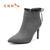 红蜻蜓欧美尖头高跟鞋女冬季新款时尚细跟女靴短筒靴皮靴